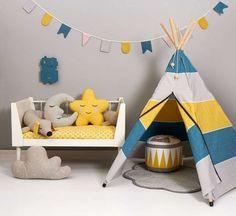 Tipi style kinderkamer, mooie kleurencombinatie# gele kinderkamer#