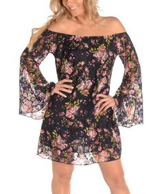 Another great find on #zulily! Black Floral Off-Shoulder Dress by Shoreline #zulilyfinds