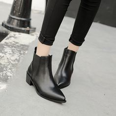 Find More Women's Boots Information about winter Low with female short pointed ankle boots British wind joker short boots PU solid women boots lady boots,High Quality boots child,China boots vintage Suppliers, Cheap joker accessories from GengNan store on Aliexpress.com