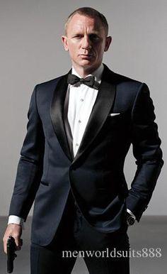 Smoking de la boda James Bond trajes de boda para hombre del novio traje esmoquin frac mejores trajes Groomsme ( Jacket + Pants + Tie )