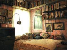 bohemian book filled bedroom