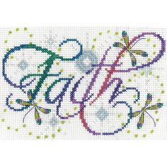 "Faith Counted Cross Stitch Kit-5""""X7"""" 14 Count"