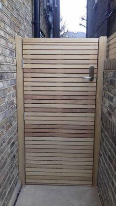 Iroko slatted gate with keycode lock - rear Wooden Side Gates, Wooden Garden Gate, Garden Doors, Backyard Gates, Gates Driveway, Garden Ideas Uk, Garden Projects, Back Garden Design, Garden Planter Boxes