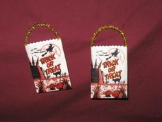 Mini Trick or Treat bags that can be used for small candies or can be used on a Halloween Tree. By ClearBrookHollow on Etsy!