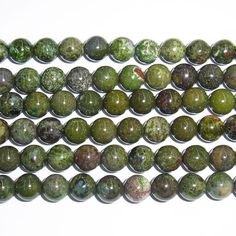 10mm Round Green Forest Jasper Beads  9117 by beadsglory on Etsy