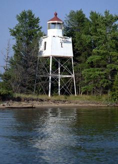 Chequamegon Point Lighthouse, on Long Island, one of the Apostle Islands, in Lake Superior in Ashland County, Wisconsin