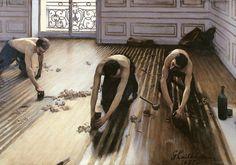 Les raboteurs de parquet The Floor Scrapers Los acuchilladores de parqué Gustave Caillebotte 1875 huile sur toile 102 × 146.5 cm Musée d'Orsay, Paris