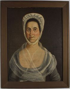 Portrait of Abigail Coggeshall Casey (1737-1821). White-capped woman, head and shoulder view with plain brownish-black background. Sitter wears gray dress with sheer white fichu over shoulder and bust. Plain, molded rectangular frame painted brown (not original, probably 20th century).    Date:	1750-1800    Maker:	unknown    Material:	oil paint (paint), canvas    GUSN:	25821