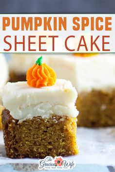 Pumpkin Spice Sheet Cake topped with creamy cream cheese frosting is a classic Fall pumpkin dessert, super easy to make, and a must-have for all pumpkin lovers! This Pumpkin Spice Sheet Cake recipe is really easy to make. It's not quite a dump cake, but close. You pretty much just mix all of the ingredients up in a bowl and pour it into a baking dish. Cut, Frost and devour! | The Gracious Wife @thegraciouswife #pumpkinspicecake #easythanksgivingcakerecipes #fallcakerecipes #thegraciouswife