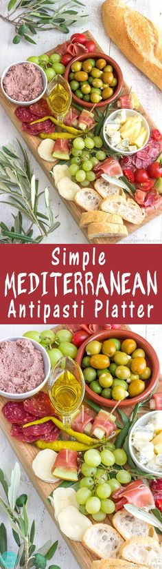 Mediterranean Antipasti Platter recipe. Easy party platter ideas! Olives, Extra Virgin Olive, Prosciutto/Salami/Bresaola, Cheese of your choice, Cherry Tomatoes, Grapes, Bread via @happyfoodstube