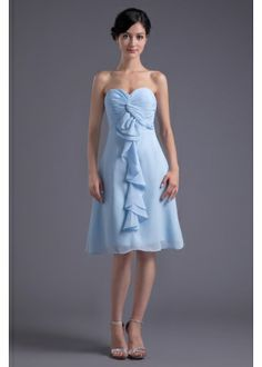 Sweetheart Chiffon Knee Length Empire Party Dress with Center Front Ruffles, blue bridesmaid dresses, blue bridesmaid gowns Blue Bridesmaid Gowns, Knee Length Bridesmaid Dresses, Cheap Bridesmaid Dresses, Wedding Party Dresses, Junior Bridesmaids, Wedding Attire, Party Wedding, Prom Dress 2014, Homecoming Dresses