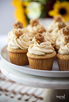 Delicious Homemade Maple Walnut Cupcakes #maple #walnut #cupcakes #dessert #recipe #fallbaking #maplecupcake #maplefrosting Maple Buttercream, Buttercream Frosting, Frosting Recipes, Trifle Desserts, Fall Desserts, Baking Recipes, Cookie Recipes, Dessert Recipes, Pumpkin Recipes