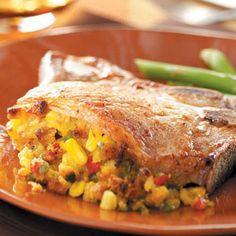 Corn stuffed pork chops- 1 pork chop- 297 calories
