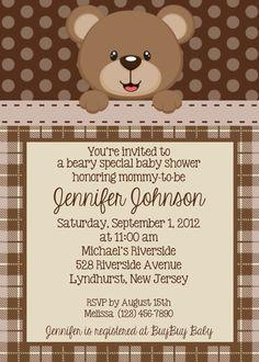 Teddy Bear Invitation - Personalized Custom Teddy Bear Baby Shower Birthday Invitation Print Your Own