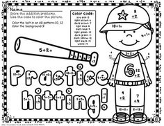 Are you ready for some baseball fun?  This file includes 11 math color by code (color by number) pages that cover the basic addition facts with sums of 0-20.  The common core standards covered are listed on each page. These sheets can be used as centers, bell ringers, homework, skill reinforcement, work for early finishers... Use of these pages encourages and reinforces skills taught; yet the students are having fun while learning. My kiddos love these sheets! TPT $