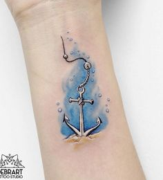 Amazing watercolor anchor tattoo - 50 Awesome Anchor tattoo Designs