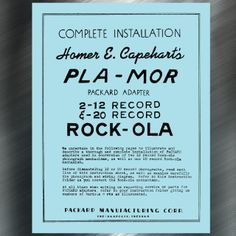 Printed Jukebox Manuals - Jukebox Arcade  PLA-MOR Packard Adapter Manual for Rock-Ola PRINT