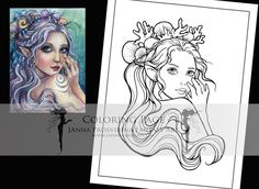 Digital Stamp, Printable, Instant download, Digi stamp, Coloring page, Art of Janna Prosvirina Coloring Books, Coloring Pages, Create Collage, Fairs And Festivals, Detailed Image, Digi Stamps, Collage Sheet, Craft Fairs, Your Cards