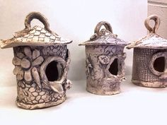 pottery camp textured birdhouses #small hands big art #pottery lessons for kids