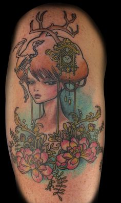 kawasaki sketch Based of a drawing by Audrey Kawasaki. The original was black and white, we added the color and the flowers at the base. Dream Tattoos, Body Art Tattoos, Bird Tattoos, Tatoos, Audrey Kawasaki Tattoo, Sketch Free, Pin Up, Cool Tats, Neo Traditional Tattoo