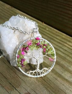 Tree Of Life Necklace Green Peridot and Pink by Just4FunDesign, $30.00