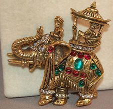 RARE Hattie Carnegie Book Piece Jeweled Figural Elephant w/Howdah &Cabachons!