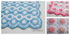 Keep your new baby warm with this awesome Crochet Puff Flower Blanket Pattern. It works up quickly. The pink color makes it ideal for a little girl.