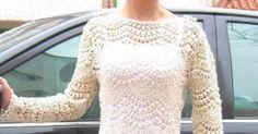Bela túnica de crochê.