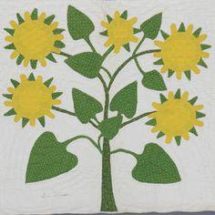 Shenandoah Valley Botanical Album Quilt de 1858: C-1 Tournesol