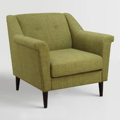 Our plush chair exudes a handsome mid-century modern feel with a clean silhouette, classic tufted details and tapered dark espresso wooden legs. In a muted green hue, it features easy-care fabric upholstery that resists pilling and ensures long-lasting looks.