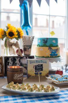 Little Blue Truck Birthday Party - GastroSenses 3 Year Old Birthday Party Boy, 2nd Birthday Party Themes, Twin First Birthday, Farm Birthday, First Birthday Parties, First Birthdays, Birthday Ideas, Tractor Birthday, Birthday Bash