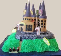 Homemade Hogwarts Cake Design: I made this Hogwarts Cake Design for my twin nephews 7th birthday.  Hogwarts in all its glory atop a rocky ridge with Harry, Ron & Hermione walking up