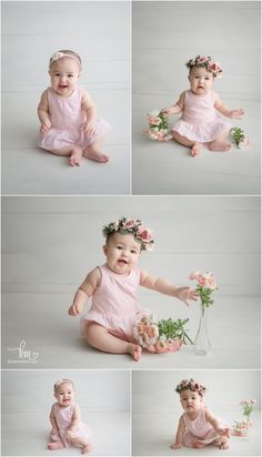 pretty in pink sitter session with pink flowers - Indianapolis Photographer Baby Photography Poses, Toddler Photography, Baby Pictures, Baby Photos, Family Pictures, 6 Month Baby Picture Ideas, One Year Old Baby, Baby Girl 1st Birthday, Unique Baby