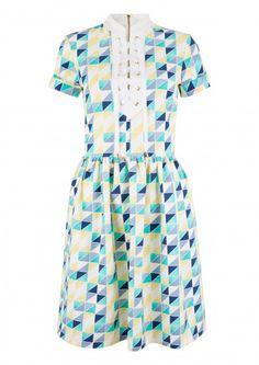 White Multi Geo Print Lace Up Neck Dress - Skater Dresses - Dresses - Clothing
