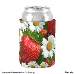 Daisies and Strawberries Can Cooler