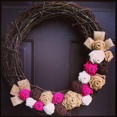 Burlap Rose Wreath on Grapevine for Front Door or Wall | WeHaveWreaths - Housewares on ArtFire   www.facebook.com/CraftCreationByJen