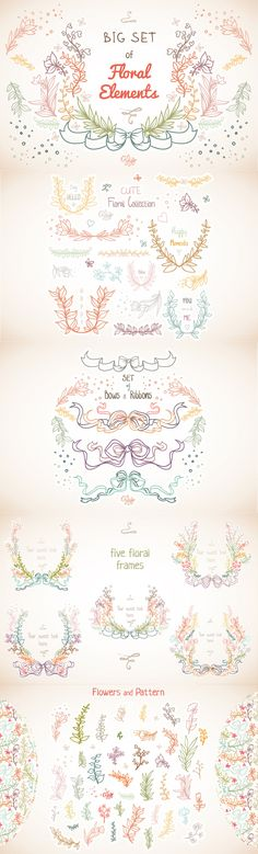 Ultimate Vector Elements Collection - These bows are just part of the thousands of design elements in this big bundle. Banners, laurels, ribbons, feathers, even a bear. Only 9 days left... $29