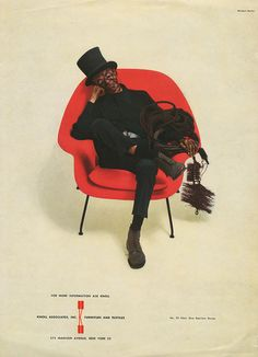 Herbert Matter Knoll Advertisement for Eero Saarinen chair – Inspired by a chimney sweep in his home country of Switzerland, Matter conceived of the instantly iconic Womb Chair advertisement in The ad began a 13 year run in The New Yorker magazine. Saarinen Chair, Eero Saarinen, Herbert Matter, Womb Chair, Chimney Sweep, Daniel Libeskind, T Magazine, Santiago Calatrava, Alvar Aalto