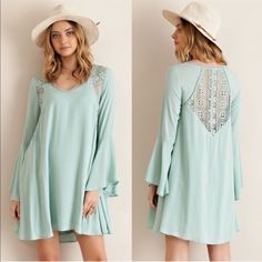 Hold For Emily HELEN dress w/ lace detail - SAGE size M Dresses Long Sleeve