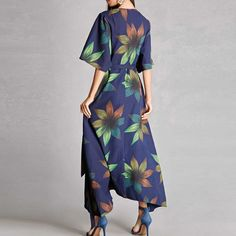 Material: PolyesterStyle: BohemianSilhouette: LoosePattern Type: PrintWaistline: EmpireNeckline: V-NeckGender: WomenColor: Multi Gala Dresses, Modest Dresses, Modest Outfits, Modest Fashion, Cute Comfy Outfits, Casual Fall Outfits, Casual Dresses For Women, Clothes For Women, Wrap Dress Floral