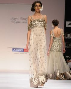 #Exclusivelyin, #IndianEthnicWear, #IndianWear, #Fashion, Champagne Gown with Antique Bronze and Gota Embroidery