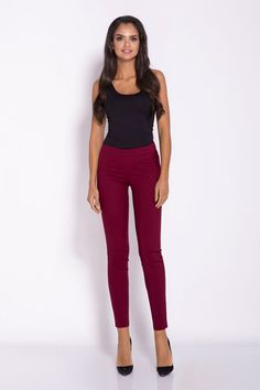 Features: - Cigarette Trousers - Slim Cut - Figure Hugging - Simple and Elegant Design - Cropped at the Ankle - Waist Band - Available in Different Co. Cigarette Trousers, Fitness Models, Capri Pants, Slim, Street Style, Boutique, Ootd, Elegant, Spandex
