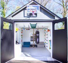 Indoor Playroom, Cool Kids Rooms, Home Gym Design, Garage Design, Gym Room, Playroom Organization, Playroom Design, Loft Spaces, Workout Rooms