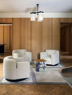 Framework sourced a trio of vintage chairs by Luciano Frigerio from 1968. Workspace Design, Office Interior Design, Office Interiors, Vincenzo De Cotiis, Amsterdam Houses, Liberty House, Family Office, Oak Panels, Luxury Office