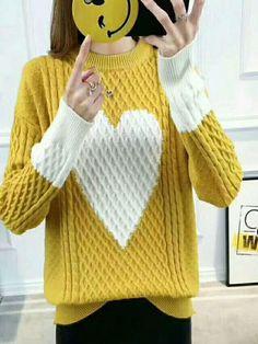 #xmas #Christmas #BerryLook - #berrylook Winter Thick Fashion Yellow Sweater - AdoreWe.com