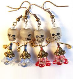Halloween Earrings Skull Glow in the Dark Funny Big by GeekeryDOO, $22.00