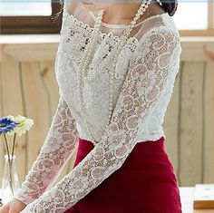 2014 Autumn Women's Lace shirt slim Plus size XXL Organza Lace tops O-neck long-sleeve Fashion Hollow Crochet lace Blouse