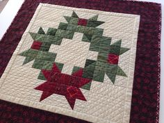 Christmas Wreath Holiday Table Topper by TheQuiltedKitchen on Etsy, $85.00