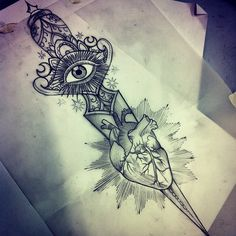 dagger heart tattoo old school style amazing