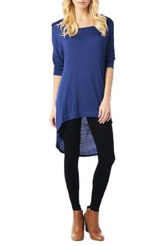 Women'S Rayon Span High & Low Tunic with 3/4 Sleeves - Navy S 82 Days http://www.amazon.com/dp/B00H2TGYGQ/ref=cm_sw_r_pi_dp_stc8tb1NEX5R2